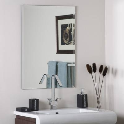 Wade Logan Frameless Stainless Steel Wall Mirror & Reviews | Wayfair Inside Frameless Wall Mirrors (#27 of 30)