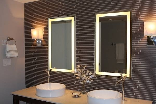 Wall Lighted Bathroom Mirror : Essential Lighted Bathroom Mirror For Wall Light Mirrors (View 24 of 30)