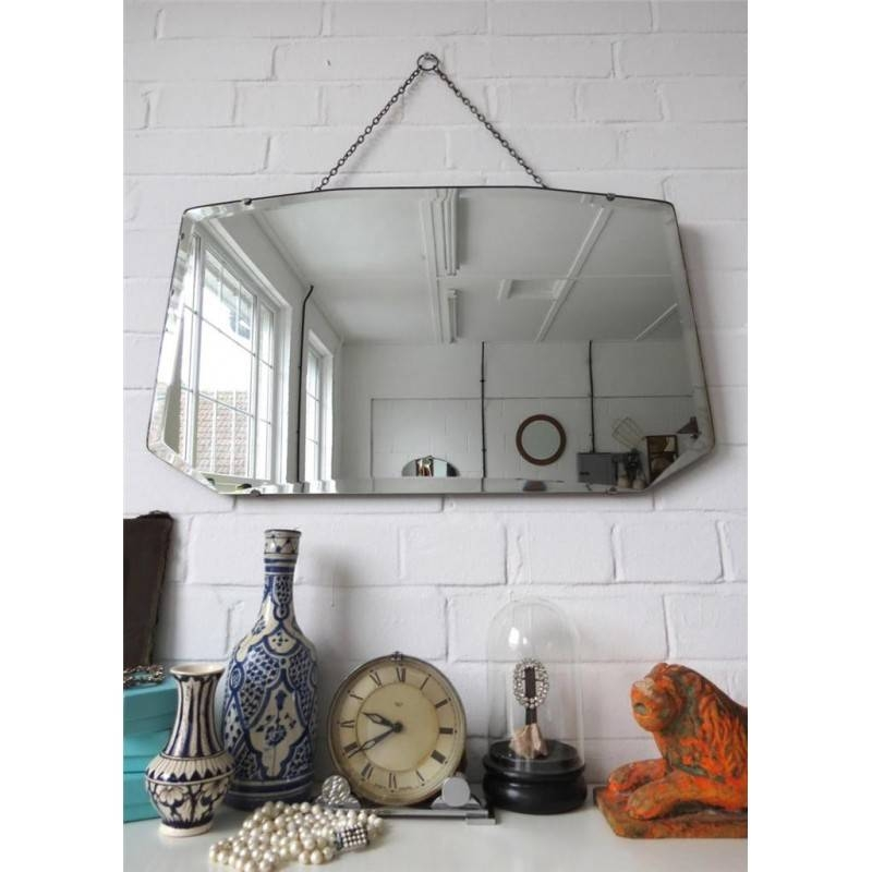 Wall Mirror Art Deco Beveled Bevelled Original Shape Large Inside Vintage Wall Mirrors (#18 of 20)