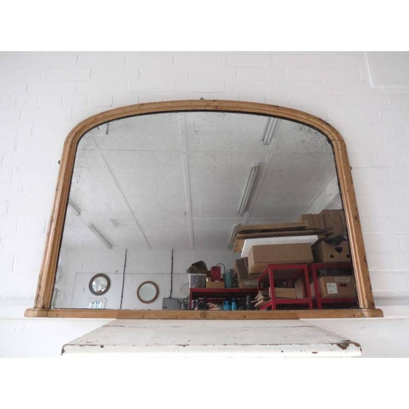 Wall Mirror Overmantle Art Deco Extra Large Wood Pine Rustic 93X128 Regarding Vintage Overmantle Mirrors (View 19 of 20)