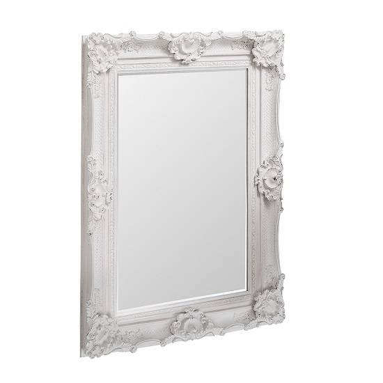 Wall Mirror Rectangular In White With Baroque Style Regarding White Baroque Wall Mirrors (#18 of 20)