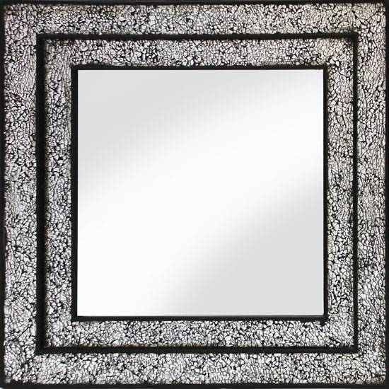 Wall Mirror Square In Mosaic Black And Silver Frame Intended For Black Mosaic Mirrors (#30 of 30)