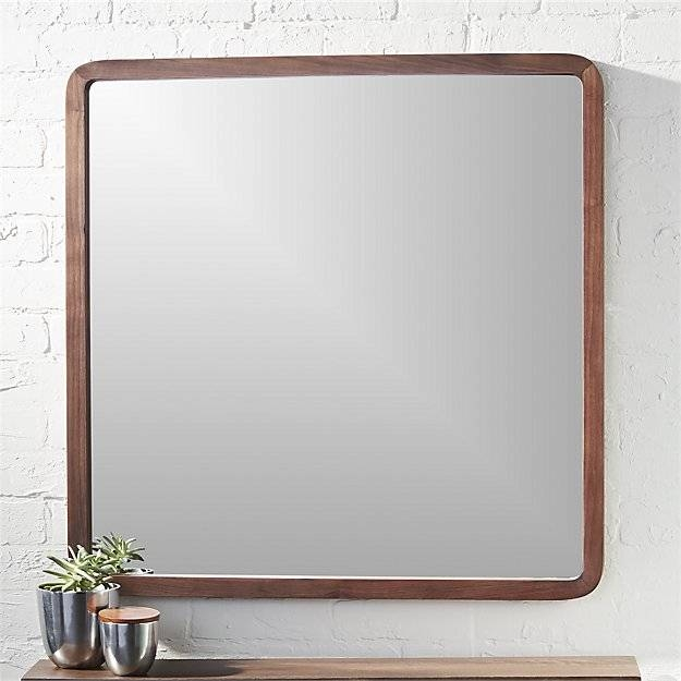 "Walnut 30"" Square Wall Mirror 