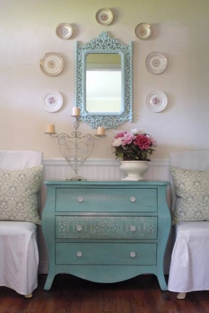 Want To Add French Dresser, Round Mirror & Blue Chest For Living Intended For Shabby Chic Round Mirrors (#19 of 20)