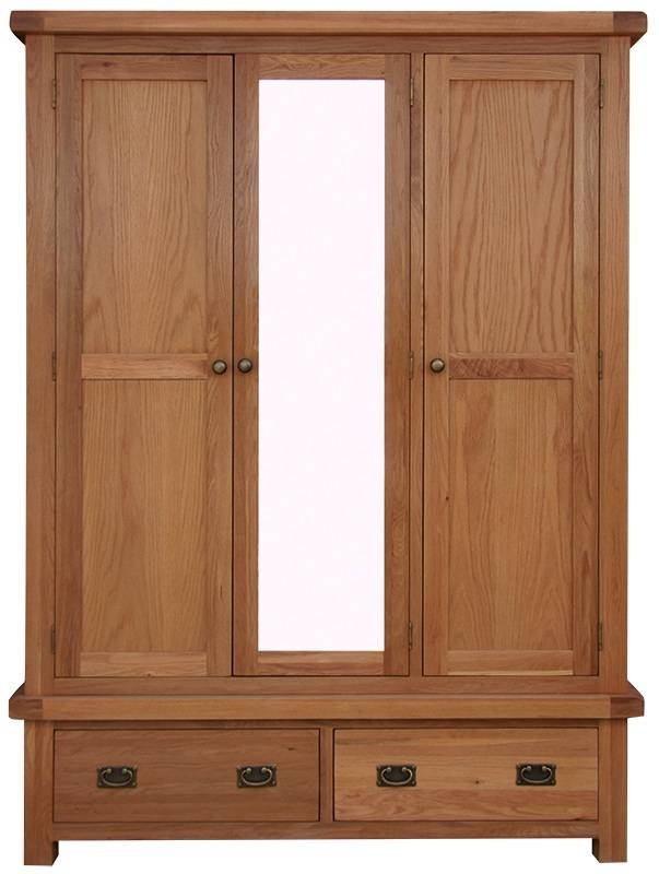 Wardrobes : Oldbury Triple Rustic Oak Wardrobe With Mirror And Intended For Rustic Oak Mirrors (#20 of 20)