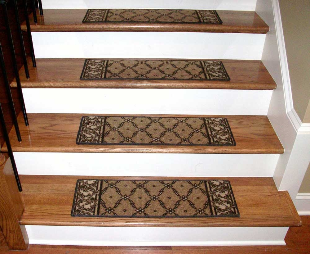 Washable Carpet Stair Treads Trellis Beige With Regard To Washable Stair Tread Rugs (#19 of 20)