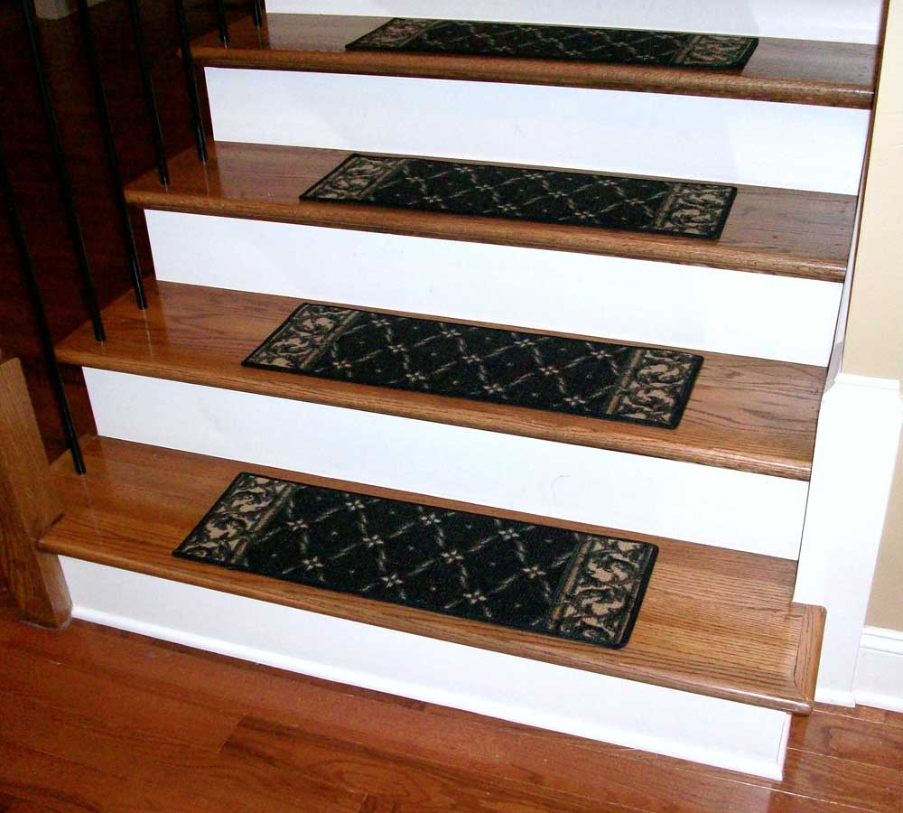 Washable Carpet Stair Treads Trellis Black Throughout Washable Stair Tread Rugs (#20 of 20)