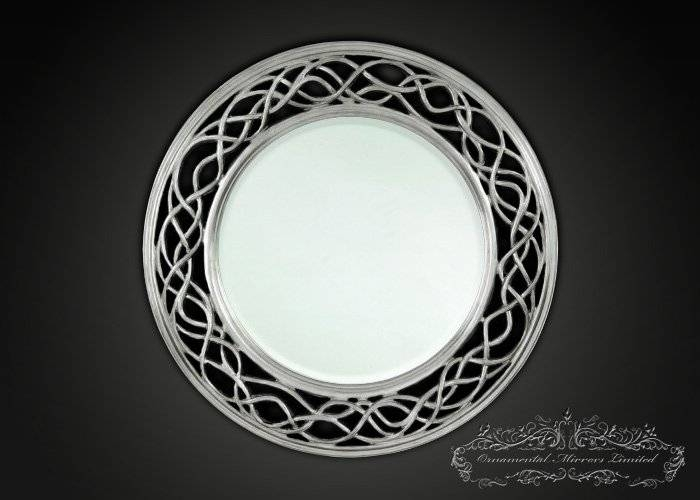 Waves And Circle Silver Round Mirrors From Ornamental Mirrors Limited Intended For Silver Round Mirrors (#30 of 30)