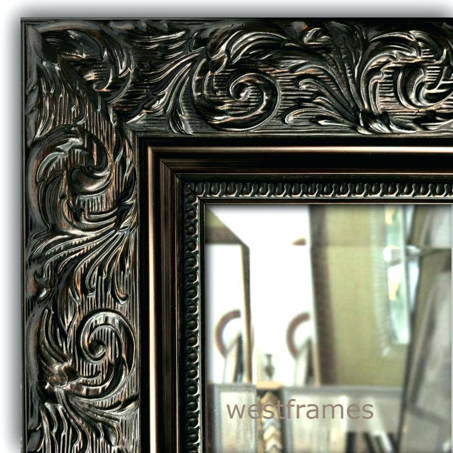 West Frames Bella Ornate Embossed Dark Bronze Gold Wall Framed In Large Bronze Mirrors (#30 of 30)