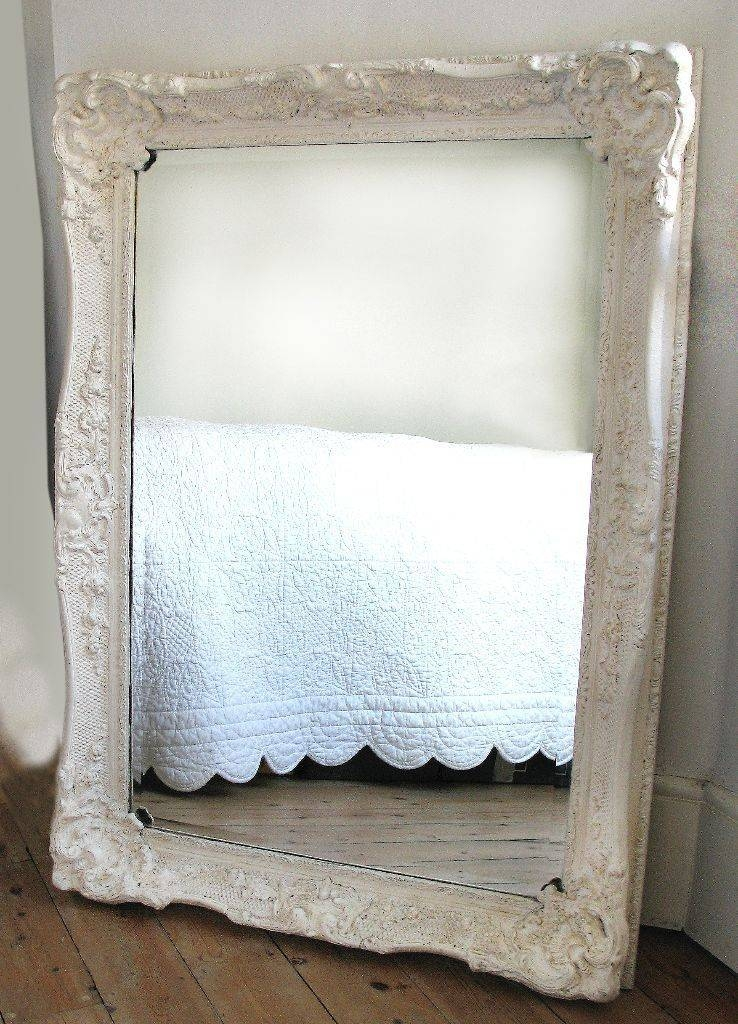 White Antique Mirror French Style Brocante 'shabby Chic' Wooden Inside White Antique Mirrors (#20 of 20)