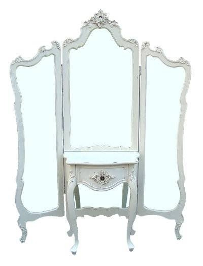 White Antique Shabby Chic Full Length 3 Panel Mirror Dressing Pertaining To Shabby Chic Full Length Mirrors (#20 of 20)
