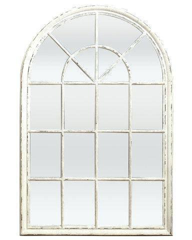 White Arched Window Pane Mirror Small – Shopwiz Regarding White Arch Mirrors (#27 of 30)