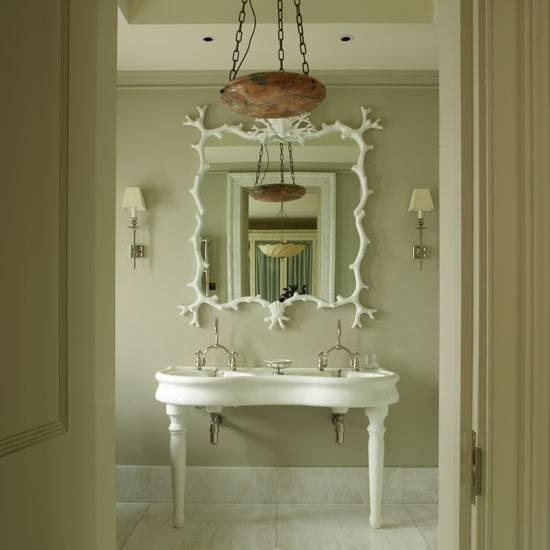 White Bathroom Mirror With Frech Basin And Cream Walls, French Intended For French Style Bathroom Mirrors (#30 of 30)