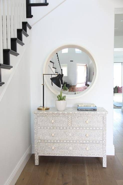White Convex Mirror With Bone Inlaid Chest – Transitional For White Convex Mirrors (#29 of 30)