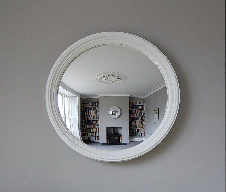 White Decorative Convex Mirror — Office And Bedroomoffice And Bedroom Within White Convex Mirrors (#30 of 30)