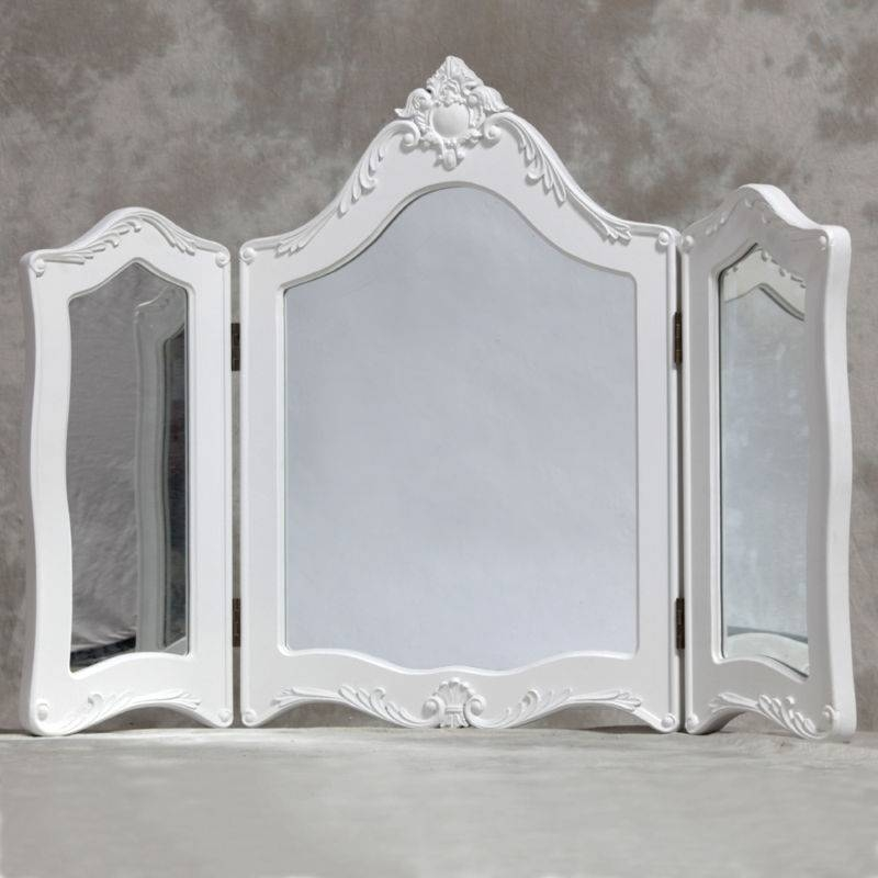 White French Style Triple Dressing Table Mirror With Regard To French Inspired Mirrors (#30 of 30)