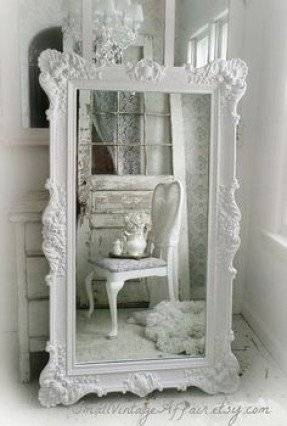 White Leaning Floor Mirror – Foter Intended For White Shabby Chic Mirrors (View 9 of 30)