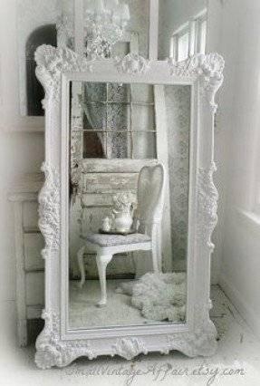 White Leaning Floor Mirror – Foter Regarding Shabby Chic Long Mirrors (#30 of 30)