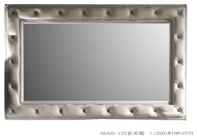 White Leather Tufted Mirror Fame – Transitional – Wall Mirrors Within Wall Leather Mirrors (#29 of 30)