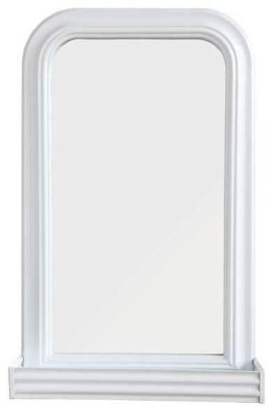 White Metal Pharmacy Wall Mirror With Shelf – Traditional – Wall With Regard To White Metal Mirrors (#19 of 20)
