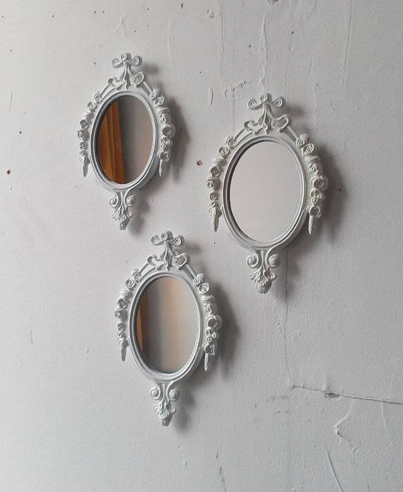 White Mirror Set Small Decorative Mirrors Vintage French Within Decorative Small Mirrors (#20 of 20)
