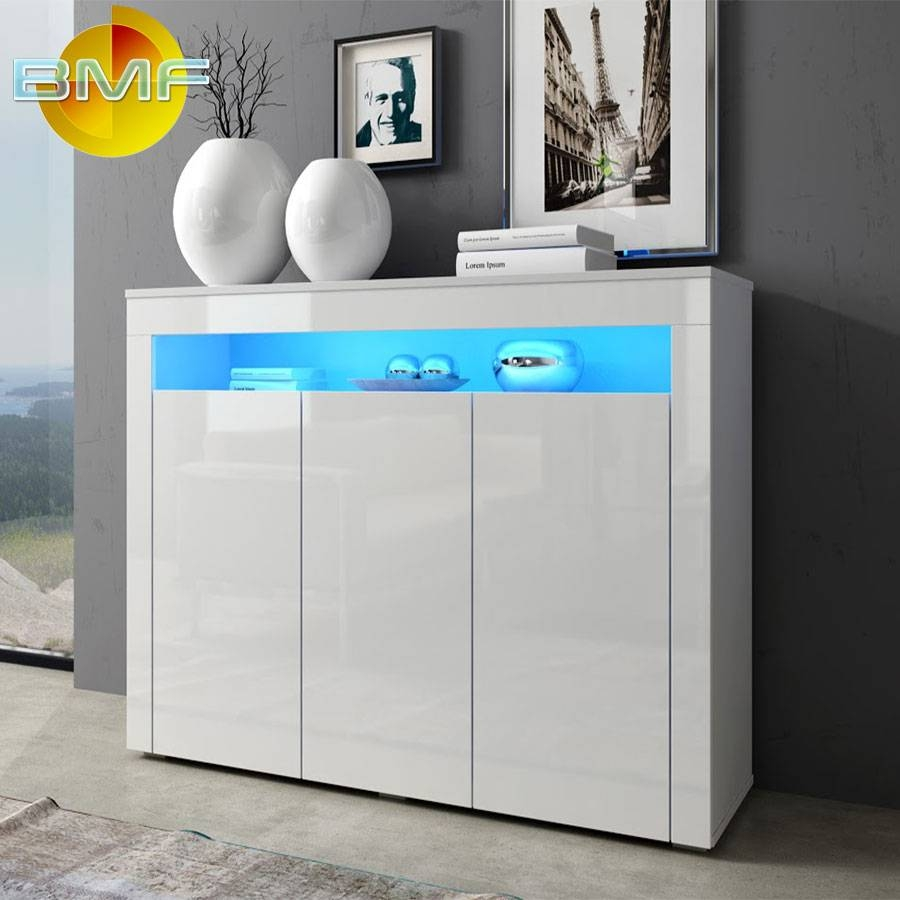 White Modern High Gloss Cabinet Sideboard Cupboard Buffet Rgb Led Throughout White Sideboard Cabinet (View 19 of 20)