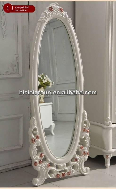 White Oval Mirror In Vintage Hand Carved Wood Frame For Vintage Long Mirrors (View 11 of 30)