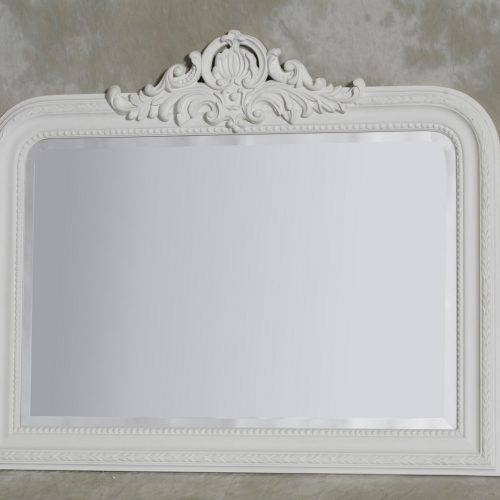 White Overmantle Mirror With Crest – The House In Town Inside White Overmantle Mirrors (#26 of 30)