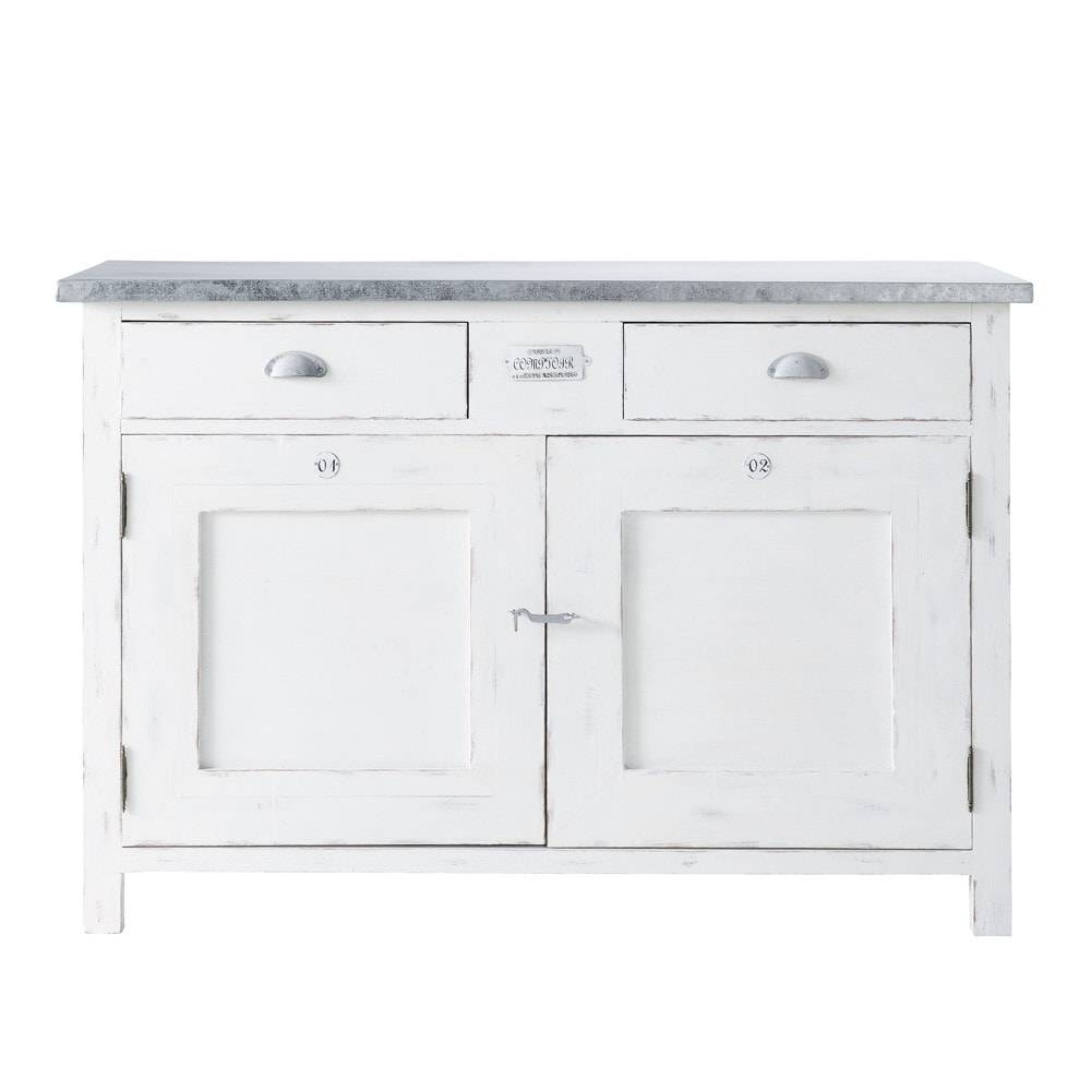 White Paulownia Wood 2 Door 2 Drawer Sideboard W 125Cm Sorgues For White Wooden Sideboard (#17 of 20)