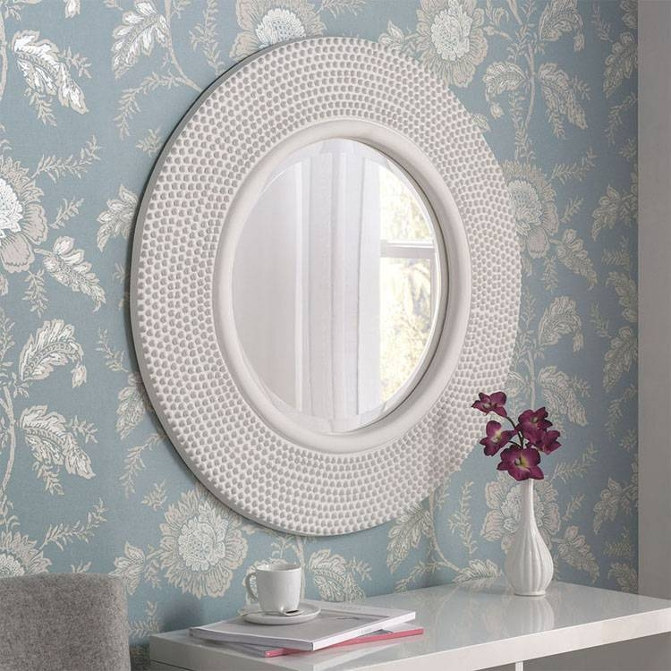 White Round Wall Mirror 79Cm White Round Wall Mirror | Exclusive Throughout Round White Mirrors (#28 of 30)