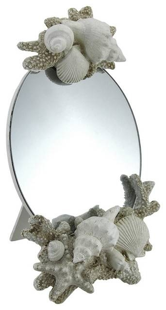 White Seashell Looking Glass Decorative Table Mirror – Beach Style Intended For Decorative Table Mirrors (View 30 of 30)