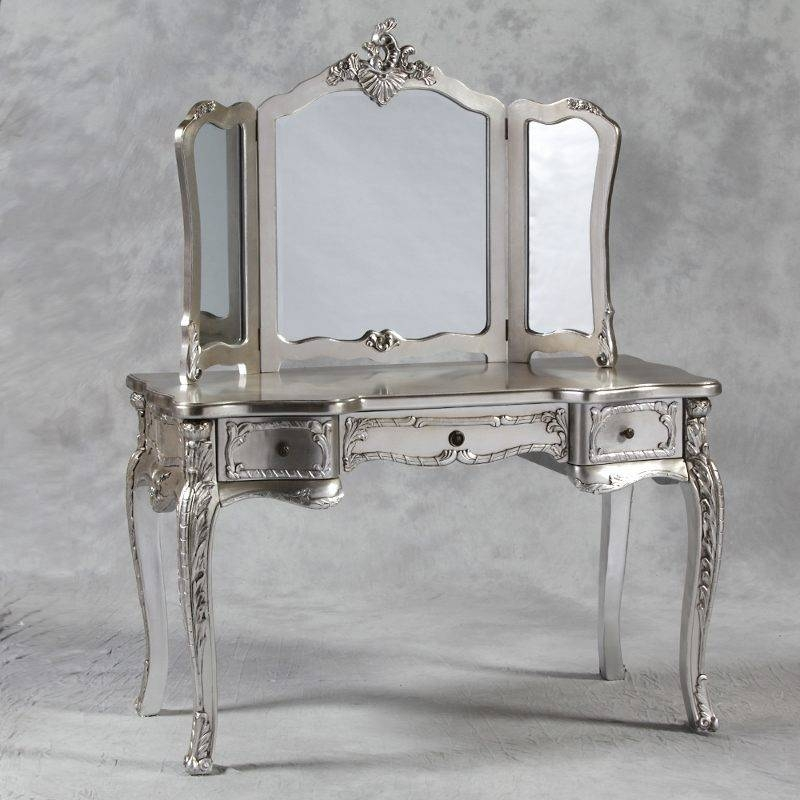 White Vanity Table With Mirror Three Oval Mirrors Framed Wall Within White Metal Mirrors (#20 of 20)