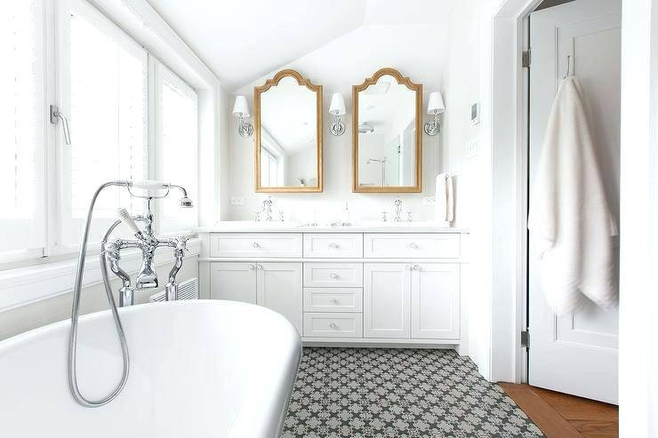 White Vintage Bathroom Design With Large Crystal Chandelier And With Regard To Vintage Style Mirrors (#19 of 20)