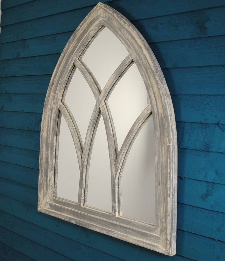 White Wash Wooden Gothic Arch Mirrorgarden Selections Within White Arch Mirrors (#29 of 30)