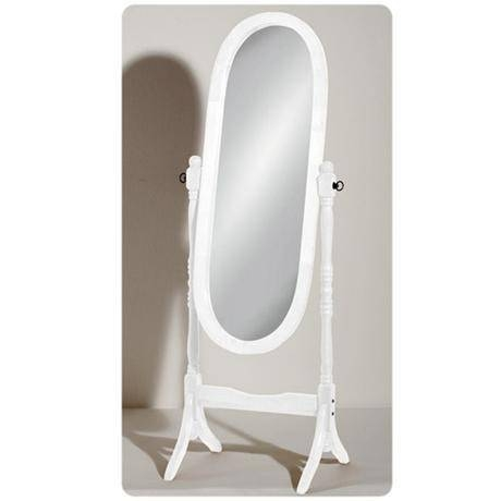 White Wooden Free Standing Full Length Cheval Mirror At Victorian Intended For Victorian Standing Mirrors (View 30 of 30)