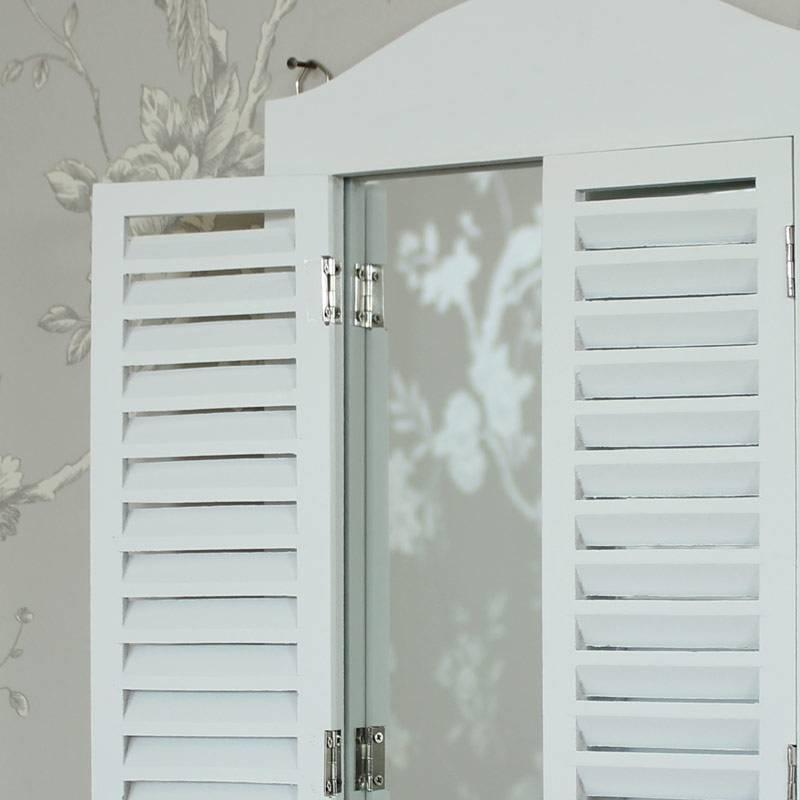 White Wooden Shutter Mirror – Melody Maison® Throughout Window Shutter Mirrors (#29 of 30)