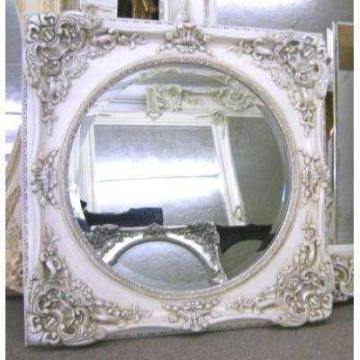 White/ivory Ornate Mirrors, Classic Mirrors & Stylish Mirrors Intended For Shabby Chic Round Mirrors (#20 of 20)