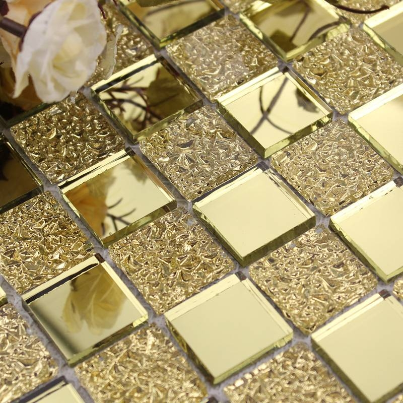 Wholesale Mirror Tile Backsplash Gold Vitreous Glass Mosaic Wall Throughout Mosaic Wall Mirrors (#20 of 20)