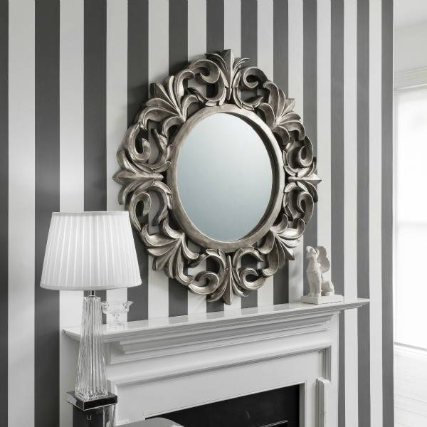 Winchester Large Baroque Style Pewter Mirror Throughout Large Pewter Mirrors (#20 of 20)