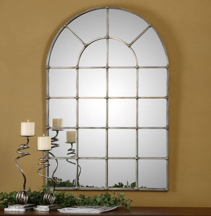 Window Pane Arch Oxidized Silver Wall Mirror Large 44"