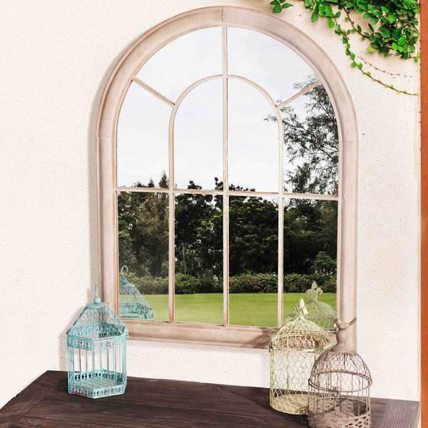 Windowpane Garden Mirror Wall Window Pane Cathedral Arched Tuscan With Regard To Metal Garden Mirrors (#30 of 30)