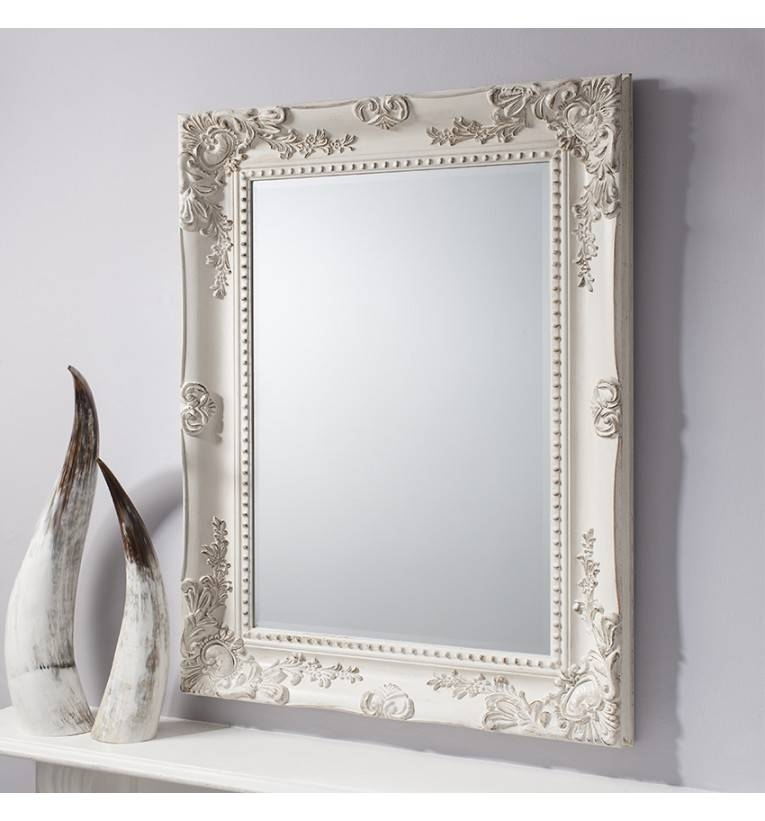 Winslet Baroque Shabby Chic Antique White Vintage Style Wall Mirror With Regard To Silver Baroque Mirrors (#30 of 30)