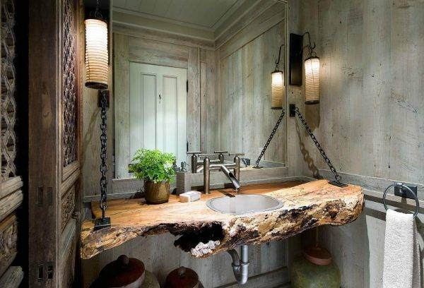Wonderful Country Style Bathroom Design With Carved Wood Wall With Vintage Style Bathroom Mirrors (#20 of 20)