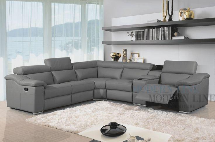 Wonderful Grey Leather Reclining Sofa Modern Leather Reclining Intended For Gray Leather Sectional Sofas (#15 of 15)