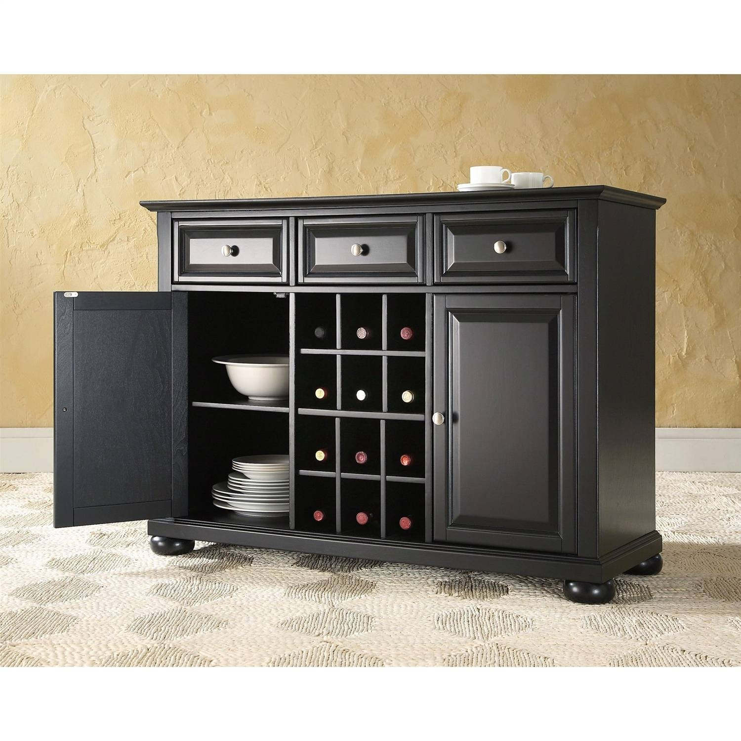 Wood Sideboard Buffet Dining Serving Table & Cabinet With Black Wood Sideboard (#20 of 20)