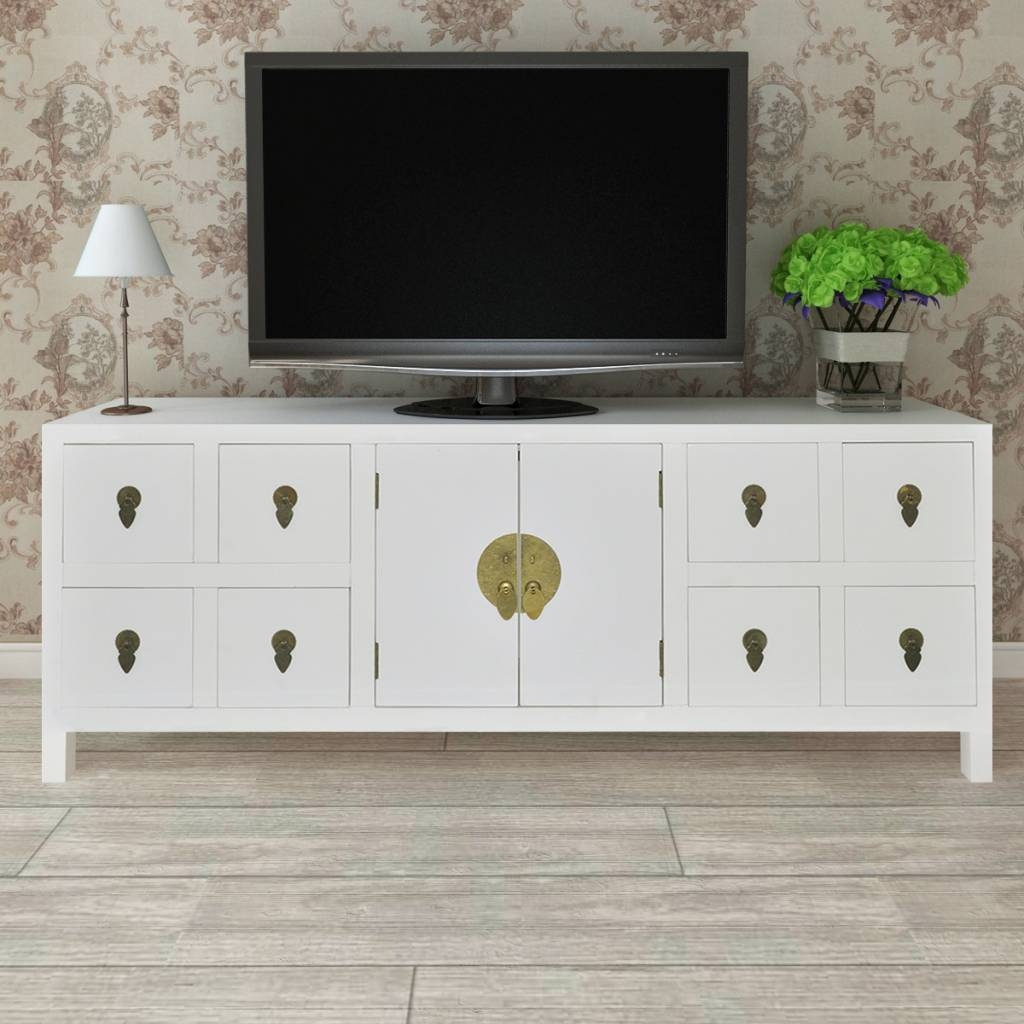 Wooden Asian Sideboard Tv Cabinet 8 Drawers And 2 Doors | Vidaxl Intended For Sideboard Tv (#20 of 20)