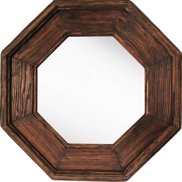 Wooden Octagonal Mirror – Rustic – Wall Mirrors  Ptm Images With Regard To Wooden Mirrors (#30 of 30)