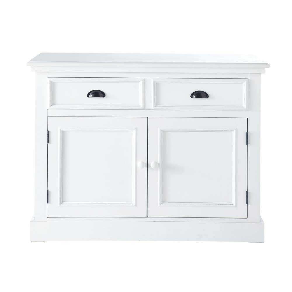 Wooden Sideboard In White W 106Cm Newport | Maisons Du Monde Pertaining To White Wooden Sideboard (#18 of 20)