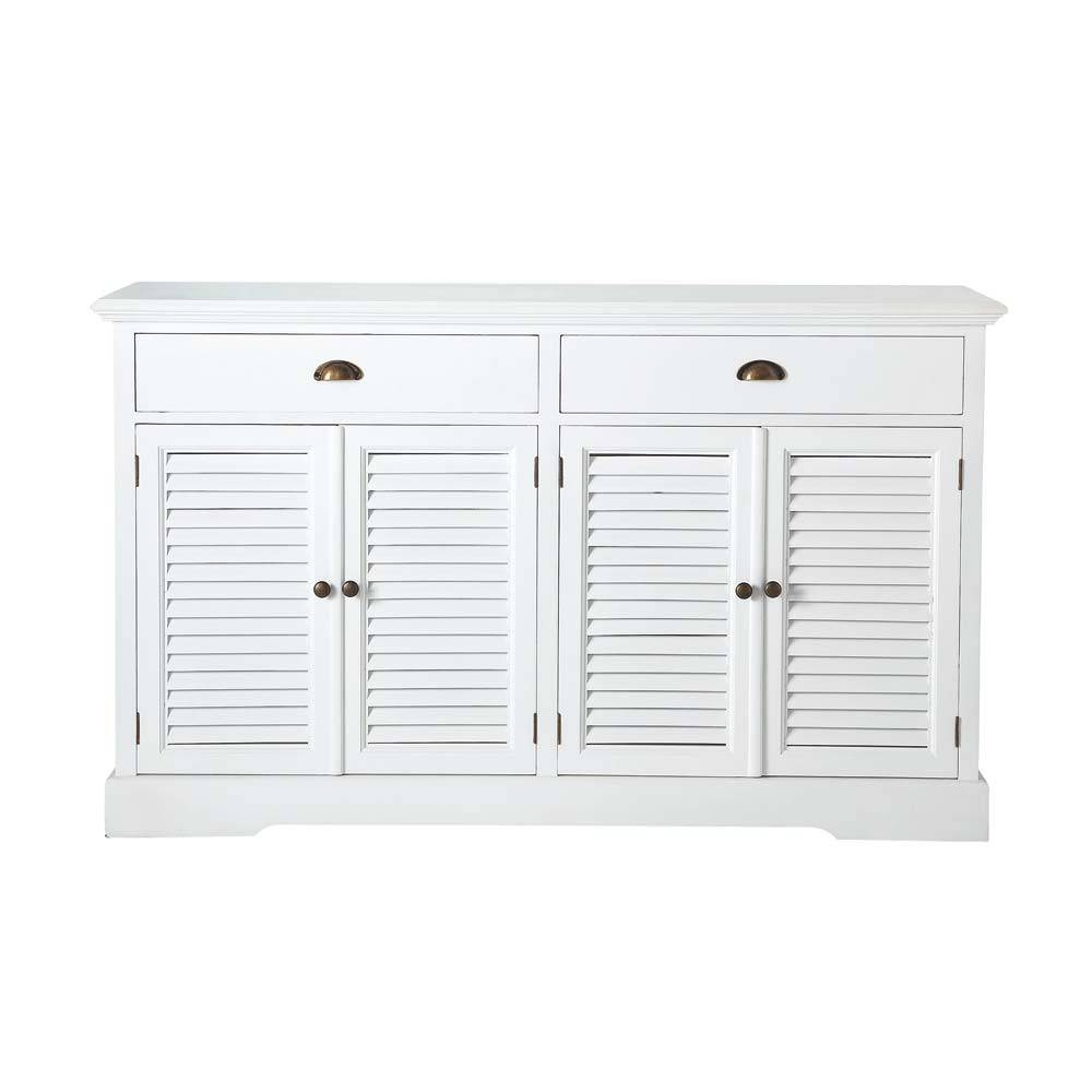 Wooden Sideboard In White W 150Cm Barbade | Maisons Du Monde In White Wooden Sideboard (#19 of 20)