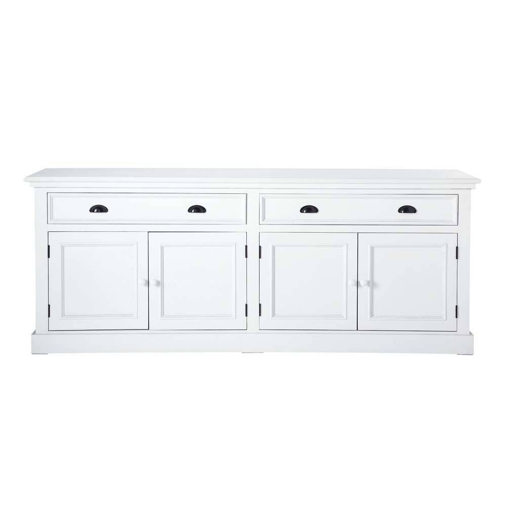 Wooden Sideboard In White W 200Cm Newport | Maisons Du Monde For White Wooden Sideboard (#20 of 20)